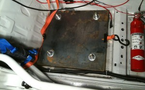 View of installed plates from above in passenger well