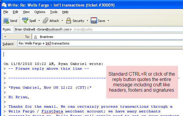 Standard reply quotes the entire email in Thunderbird