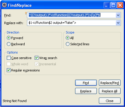 Eclipse search and replace regular expression to add output=false to all cffunction tags
