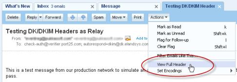 View SPF, DomainKeys and DKIM headers on Yahoo mail