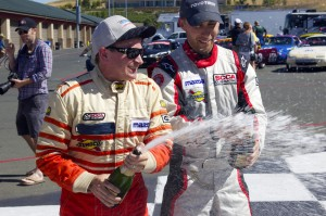 Darin (left) and me (right) spraying the champagne!